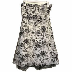 Have Strapless Black and White Floral Mini Dress